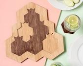 Rosh Hashanah Gift, Pomegranate and Honey Hive Set - Tray + 6 Coasters, Modern Judaica Oak and Walnut Veneer, Gift from Israel
