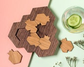 Game Lovers Gift, Challenging Wooden Puzzle Pomegranate and Honeycomb Shaped Mind Game, Modern Judaica, Made in Israel