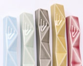 """Large Mezuzah Case, Jewish Housewarming Gift, Geometric Judaica,  Fits a 4.8"""" Scroll, Your Choice of 5 Colors Ceramic, Handmade in Israerl"""