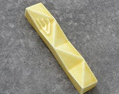 "Small Modern Mezuzah Case, Geometric Judaica for New Home, Jewish Wedding Gift, Yellow Ceramic, Fits a 2.7"" Scroll, Handmade in Israel"