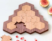 Rosh Hashanah Gift, Challenging Puzzle , Pomegranate and Honeycomb, Modern Judaica Oak and Walnut Veneers, Made in Israel