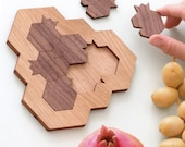 Game Lovers Gift, Original Wooden Puzzle Pomegranate and Honeycomb Shaped Mind Game, Modern Judaica, Made in Israel