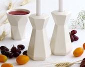 Modern Judaica Shabbat Set, Pair of Hexagon Candlesticks + Kiddush Cup, Judaica Gift HandMade in Israel
