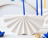 Hanukkah Menorah ,Modern geometric Judaica,White ceramic menorah, Origami Menorah