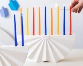 Chanukah Menorah, Menorah, Chanukah Gift, Hanukkah Menorah, White Menorah, Origami Menorah, Modern Menorah, Ceramic Menorah, Jewish Gift