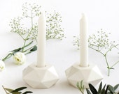Candlesticks, Shabbat Candlestick, White Candle Holder, Ceramic Candlesticks, Modern Judaica Gift, passover gifts, Gift from Israel