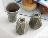Modern Judaica Shabbat Set, Judaica Gift Pair of Shabbos Candlesticks + Kiddush Cup, Grey Ceramic, Handmade in Israel