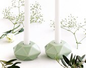 Ceramic Gift Geometric Candle Holders, Pale Green Ceramic, Trendy Housewarmig, Shabbat Candlesticks, Made in Israel, passover gift