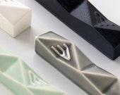 "Mezuzah, Modern Mezuzah, Mezuzah with Scroll, Judaica Gift, Mezuzah Case, Ceramic Mezuzah, Gray Mezuzah, Jewish Home Gift, Geometric, 2.8"""