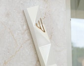 Front Door Mezuzah Case, Modern Geometric, Off White Ceramic with Gold 'Shin', Jewish Wedding Gift,  Extra Large Mezuza Fits a 6'' Scroll