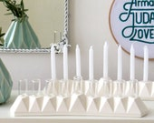 Chanukah Menorah oil/candles, made in Israel, White ceramic modern menorah