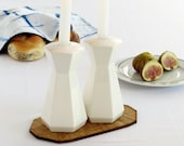 Shabbat candlesticks, Rosh Hashanah Gift, White Hexagon Candlesticks, Wedding or Bat-Mitzvah Gift, Ceramic Candle Holders