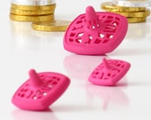Hanukkah Dreidels - Set of 3 Nesting Spinning Tops in a Shibori Bag - Pink Matryoshka Spin Tops - hanukkah decorations, Original 3D Printed