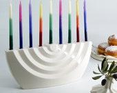 Menorah, Chanukah Menorah, Hanukkah Gift, Hanukkah Menorah, Judaica, Wavy Menorah, Jewish Gift, Ceramic Menorah,Modern Menorah,White Menorah