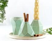 Jewish home Gift, Modern Havdalah Set, Wedding Gift. Geometric Ceramic Light Green Cup, Candleholder, Besamim Spices Holder and Cream Plate