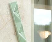 Front Door Mezuzah Case, Modern Geometric, Light Green Ceramic, Jewish Wedding Gift,  Extra Large Mezuza Fits a 6'' Scroll