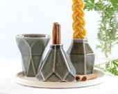 Jewish home Gift, Modern Havdalah Set, Wedding Gift. Geometric Ceramic Grey Cup, Candleholder, Besamim Spices Holder and Cream  Plate
