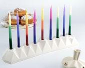 Menorah, Chanukah Menorah, Oil Menorah, Jewish Gift, Judaica, Hanukkah Gift, Modern Menorah, Menorah Candle Holder, Ceramic Menorah, White