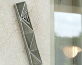 Front Door Mezuzah Case, Modern Geometric, Grey Ceramic, Jewish Wedding Gift,  Extra Large Mezuza Fits a 6'' Scroll
