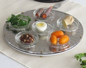 Modern Seder Plate - with Geometric Pattern, passover plate, Golden Acrylic Tray with 6 Glass Plates, Judaica Jewish Gift