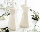 Shabbat candlesticks, White ceramic Candle Holders, Wedding or Bat-Mitzvah Gift, Housewarming gift, Jewish décor
