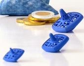 Hanukkah Dreidels - Set of 3 Nesting Spinning Tops in a Shibori Bag - Blue Matryoshka Spin Tops - Original Chanukah Gift 3D Printed Nylon