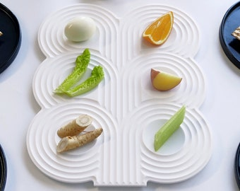 New Seder Plate Made of White Corian, Modern Minimalist Judaica Durable Elegant Serving Tray New Home Gift from Israel, Jewish Wedding gift