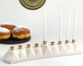 Hanukkah Menorah, Modern geometric Judaica, White Ceramic with Brass Canes Contemporary Judaica Origami Inspired. Handmade in Israel.