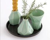Modern Havdalah Set. Geometric Ceramic Light green Cup, Candleholder, Besamim Spices Holder and Black Plate