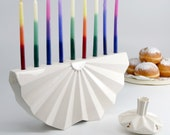 Menorah, Hanukkah Menorah, Judaica, Chanukah Gift, Chanukah Menorah, Jewish Gift, Origami Menorah, Modern Menorah, White Ceramic Menorah