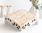 Passover Matzah Plate - Modern Judaica Matzo Tray - Diamond Pattern Seder table decoration, Passover gift, Seder hostess gift Made in Israel