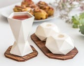 Modern Shabbat Set, Rosh Hashanah Gift,Bar/Bat Mitzvah judaica Gift, Pair of Shabbat Candlesticks+Kiddush Cup, White Ceramic, Made in Israel
