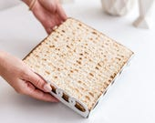 Passover Matzah Plate - Matzo tray - Rings Pattern Seder table decor - Pessach hostess gift , Modern Judaica geometric style, Made in Israel