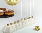 Chanukah Menorah, Jewish Gift, Judaica, Hanukkah Gift, Modern Menorah, Hanukkah Candelabra, Ceramic Menorah, White, with Brass Canes