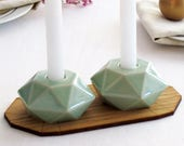 Rosh Hashanah Gift, Ceramic Gift Geometric Candle Holders, Pale Green Ceramic, Trendy Housewarmig, Shabbat Candlesticks, Made in Israel