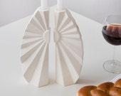 Rosh Hashanah Gift, Ceramic Gift, Geometric Shabbat Candle Holders, Geometric Judaica, Wedding Gift, Gift from Israel, Handmade in Israel