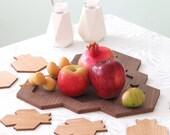 Housewarming  Gift, Pomegranate and Honey Hive Set - Tray + 6 Coasters, Modern Judaica Oak and Walnut Veneer, Gift from Israel