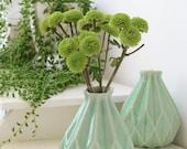 Rosh Hashanah Gift, Ceramic Gift, Geometric Vase, Pale Green Ceramic Flower Vase, Origami Inspired Gift, Pottery Gift, Clay Vase