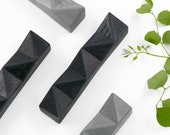 "Modern Mezuzah Case, Contemporary Judaica, Black Geometric Mezuza, Jewish Wedding Housewarming Gift fits a 4"" Scroll, Minimalist Judaica"