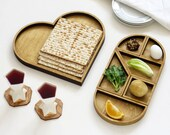 Heart Tangram Seder plate and Matzo tray, Passover gift,  Tangram inspired Modern Judaica gift for Pessah hostess