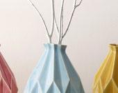 Rosh Hashanah Gift, Ceramic gift ,Geometric Vase, Light Blue Ceramic, Origami Modern Design, Contemporary Style Home Decor, Made in Israel