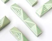 "Large Mezuzah Case, Jewish Housewarming Gift, Geometric Judaica,  Fits a 4.8""  Kosher Scroll, Light Green Ceramic, Handmade in Israerl"