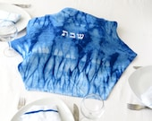 One of a kind Challah  Cover ,Blue & White Judaica art, shiburi challah cover Hand dyed. No.26