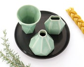 Rosh Hashanah Gift, Modern Havdalah Set. Geometric Ceramic Light green Cup, Candleholder, Besamim Spices Holder and Black Plate