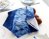 Rosh Hashanah Gift, Challah  Cover , Indigo Shibori Judaica, Shabbat Table Decor, Judaica Hand dyed. No.1