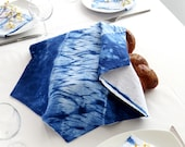 Challah  Cover for Challah Bread, Indigo Shibori Judaica, Shabbat Table Decor  Hand dyed. No.1