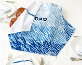Embroidered Challah  Cover , One of a kind Judaica Gift, Shiburi Challah Cover Hand dyed. No.22