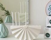Jewish Wedding Gift, Hanukkah Menorah, Modern geometric Judaica, White Ceramic Contemporary Judaica Origami Inspired. Handmade in Israel