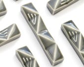 """Small Mezuzah, Set of 3 Gray Mezuzah Cases - Modern Mezuzah Case, Geometric Judaica for New Home, Jewish Gift, Fits a 2.7"""" Scroll"""