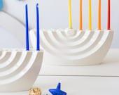 Modern Hanukkah Menorah wavy white ceramic Chanukia - Contemporary Judaica, Wavy Menorah